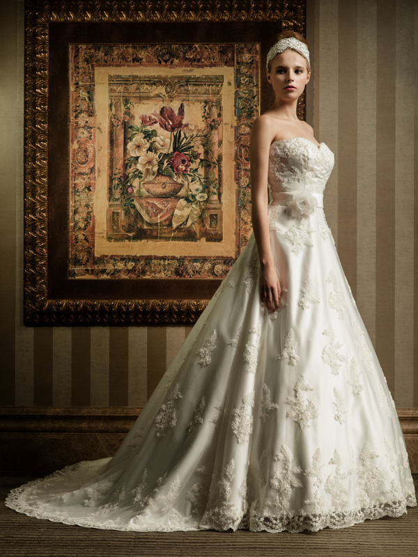 long A-line beaded lace wedding dress with floral belt
