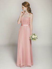 long dusty rose tulle bridesmaid dress swbd019