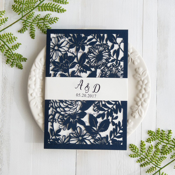 navy blue botanical laser cut wedding invites with belly band swws031