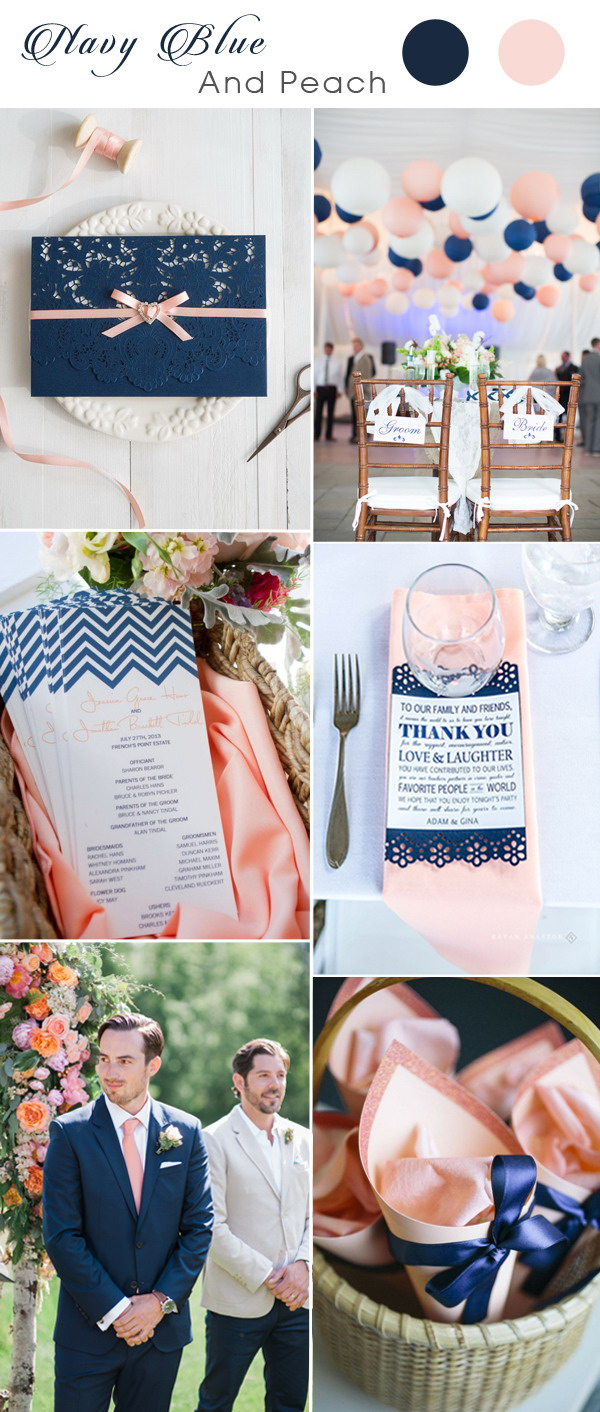 navy-blue-wedding-invitation-with-peach-ribbon-for-navy-and-peach-weddings