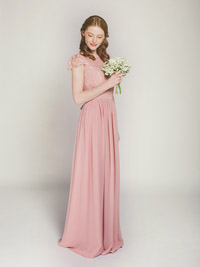 pretty lace and chiffon bridesmaid dress in dusty rose swbd009