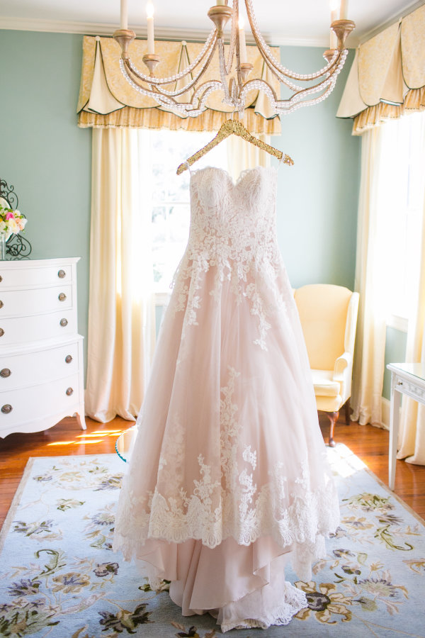 romantic-blush-pink-lace-wedding-dress