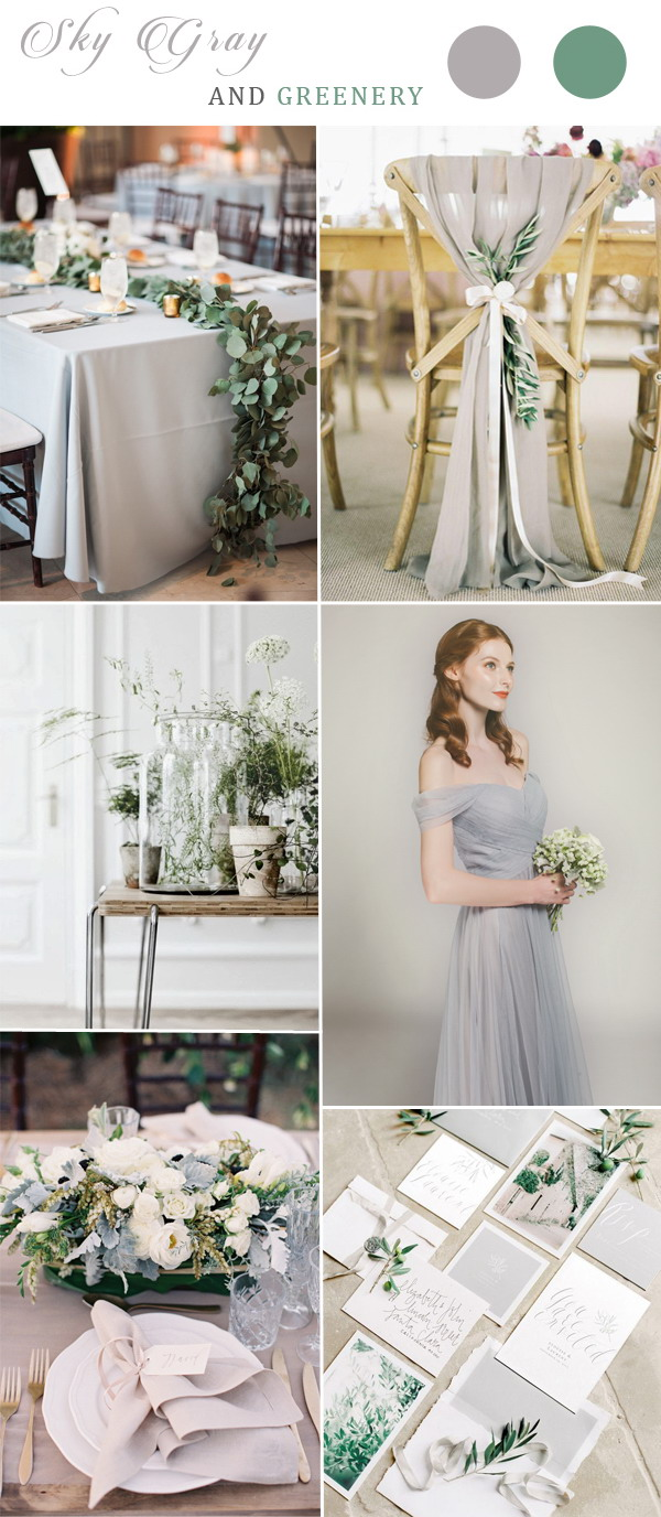 sky-gray-and-greenery-wedding-color-combos-with-grey-bridesmaid-dress