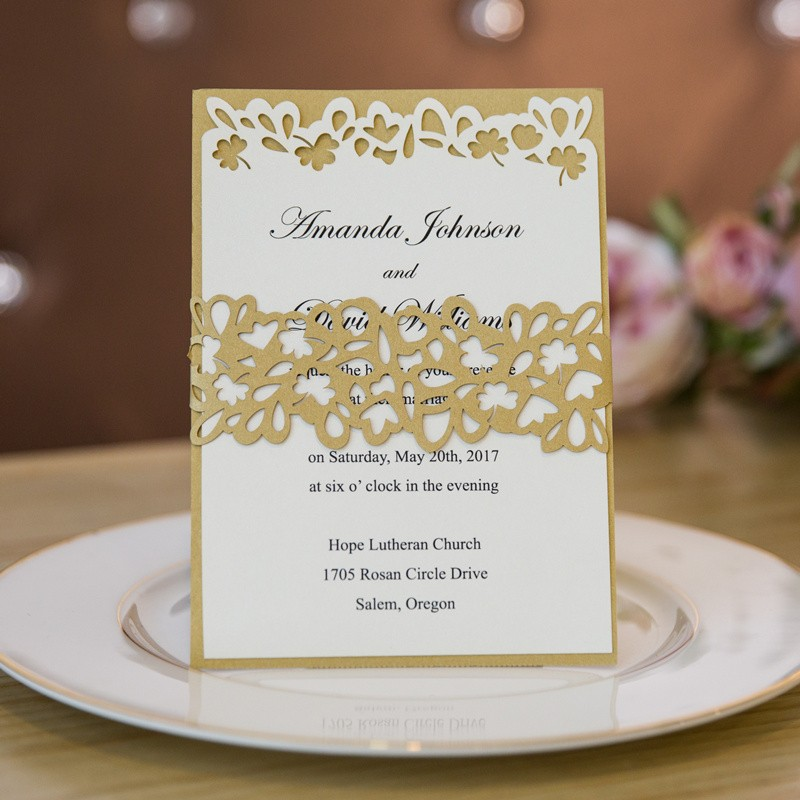 unique gold glitter layered laser cut belly band wedding invites with clover belly band