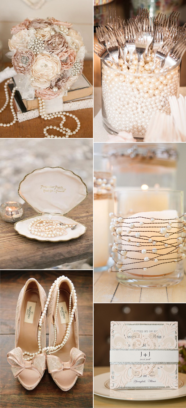 vintage pearl wedding ideas with matched invites
