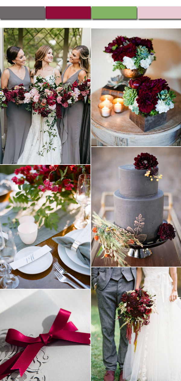 2017 Fall And Autumn Gray Marsala Wedding Color Ideas For Bridal Inspiration