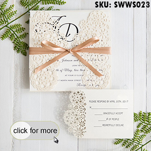 Blush Pink Floral Laser Cut Wedding Invitations With Grey Band SWWS032