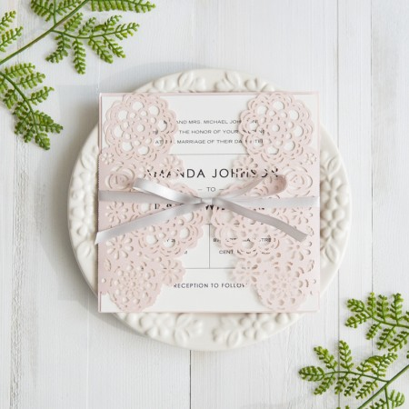 Blush Pink Floral Laser Cut Wedding Invitations With Grey Band