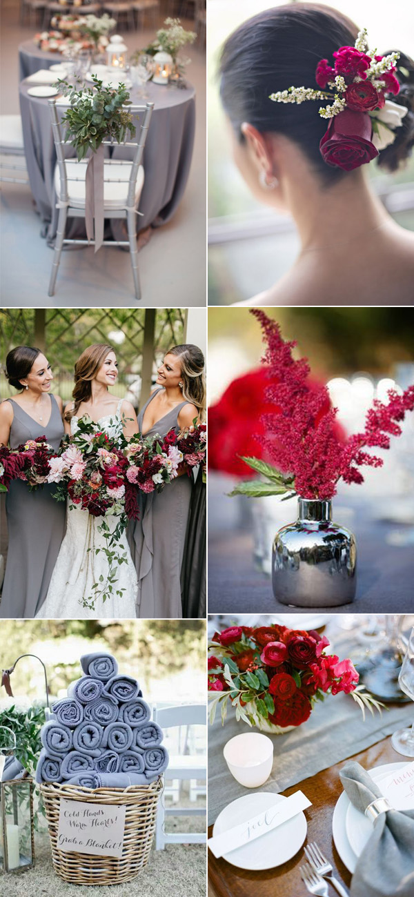 Burgundy and gray wedding color schemes for 2017 trends