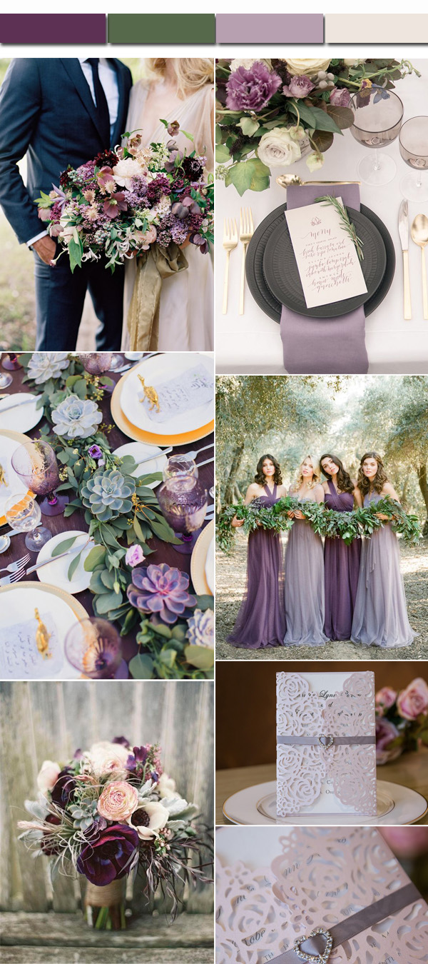 Elegant Greenery Plum Lavender Fall Wedding Color Palettes