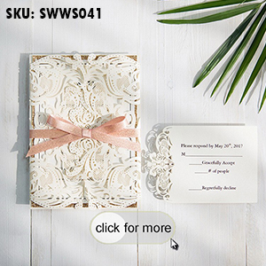 Elegant Laser Cut Wedding Invitation with Glitter Gold Paper SWWS041