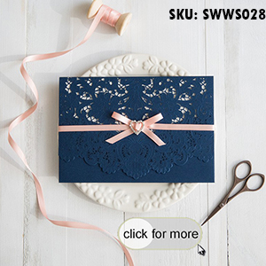 Elegant Navy Blue Laser Cut Pocket Wedding Invitations with Peach Ribbon SWWS028