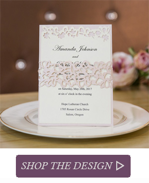 Elegant Rustic Blush Layered Laser Cut Belly Band Wedding Invitations SWWS021