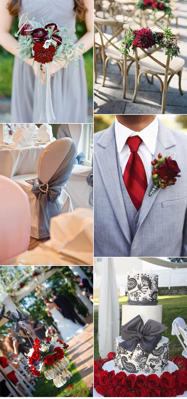 Elegant fall wedding decoration ideas in color of burgundy and gray