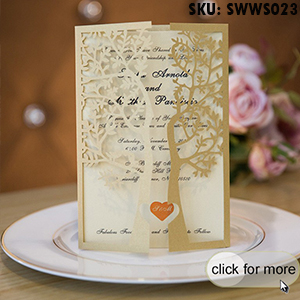 Fancy Gold Glitter Love Tree Laser Cut Trifold Wedding Invitations SWWS023