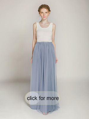 Long Dusty Blue Tulle Skirt For Bridesmaids