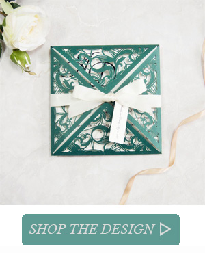 Lush Greenery Wedding Invitations Laser Cut With Tag SWWS036