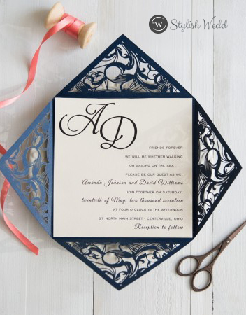 Navy Blue Laser Cut Pocket Wedding Invitations with Coral Colored Ribbon
