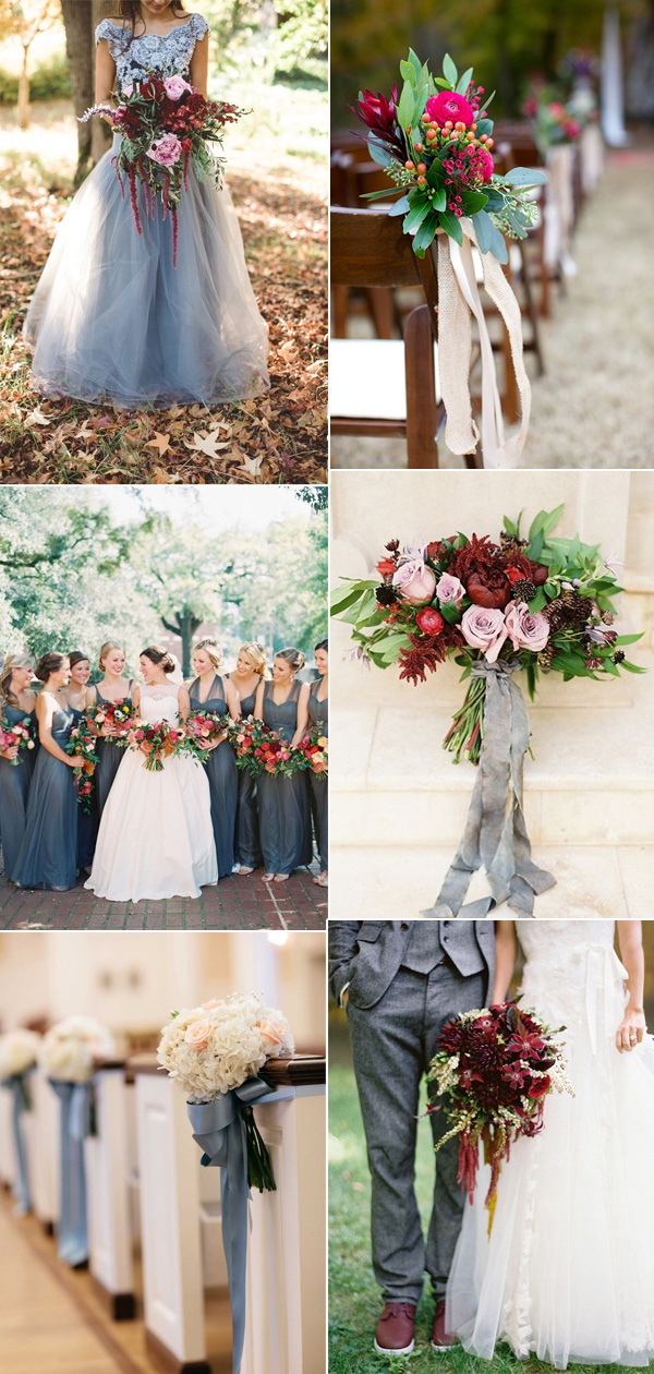 Perfect Gray Fall Wedding color ideas in shades of Burgundy and Blush