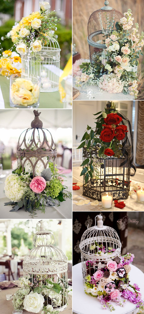 Super Vintage Birdcage Inspired Wedding Centerpieces Ideas for Country Weddings