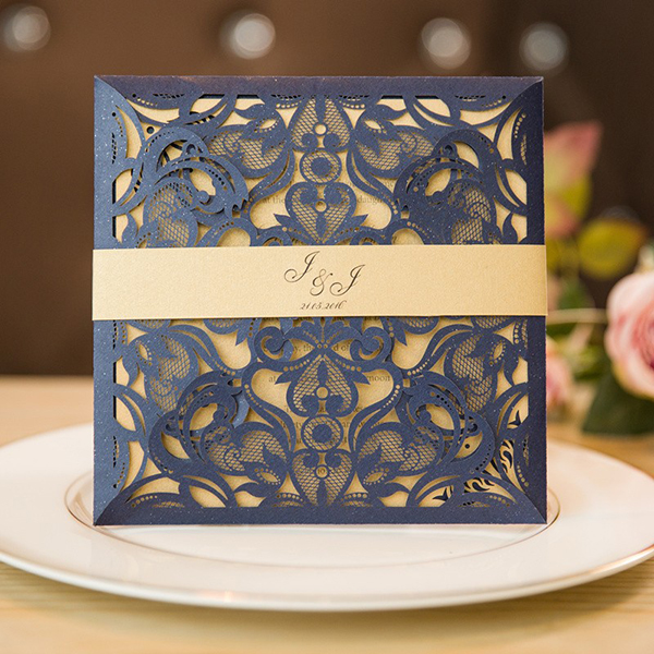 Unique Laser Cut Navy Blue Wedding Invitations With Belly Band