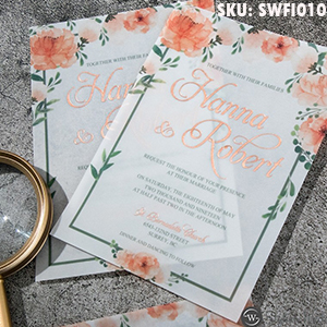 boho peach floral rosegold foil name wedding invitations SWFI010
