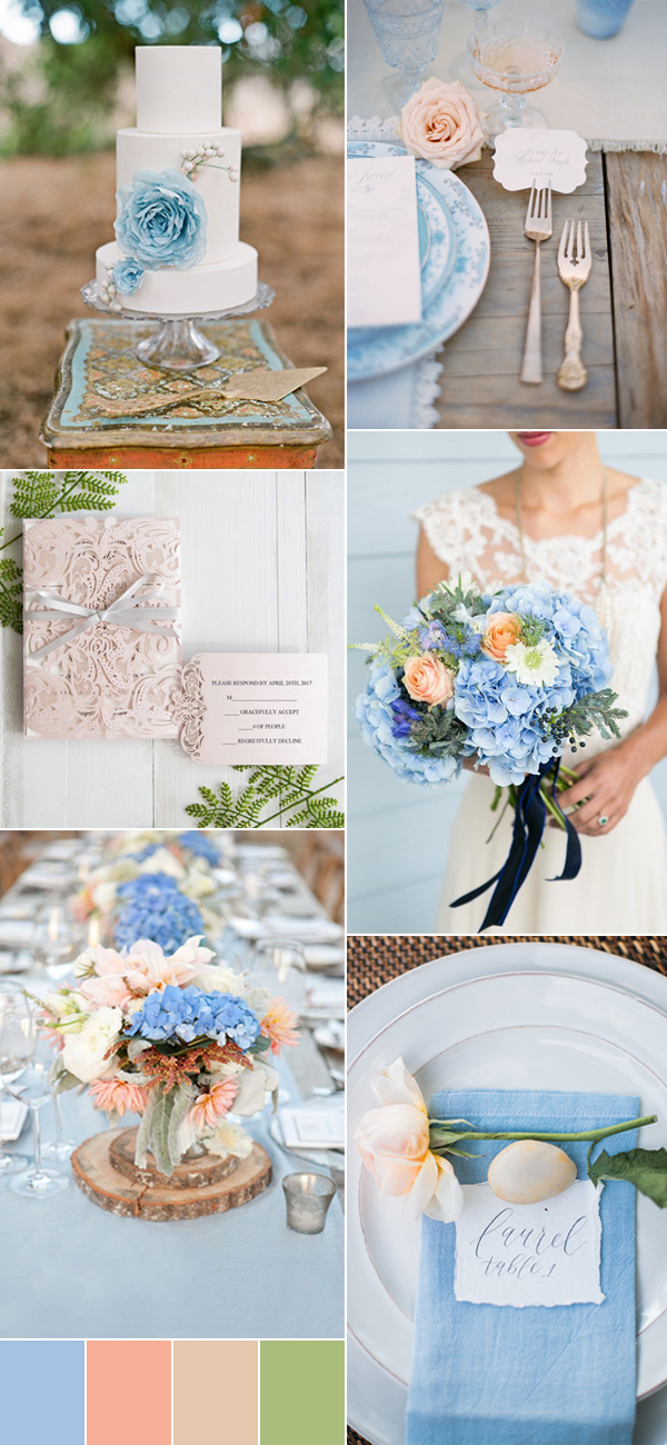 dusty blue and peach wedding colors inspiration