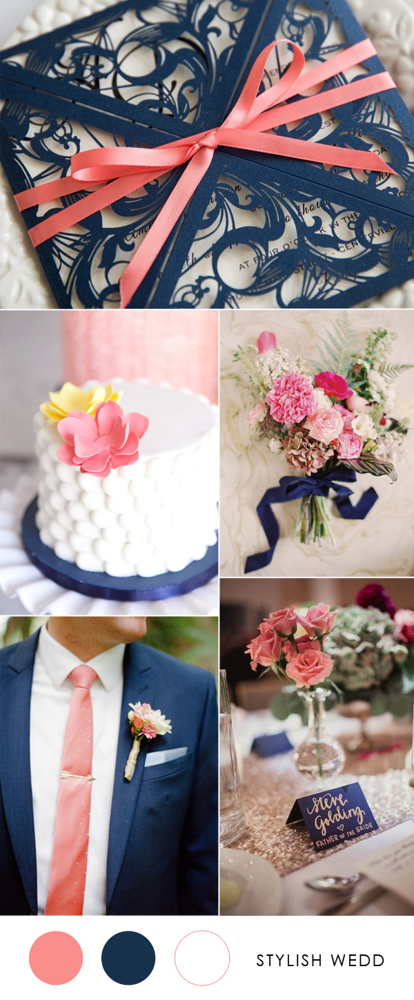 elegant-navy-blue-wedding-invitations-with-coral-ribbons-for-2020