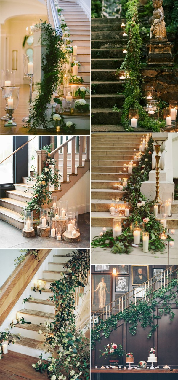 greenery-wedding-staircase-decoration-ideas-2017