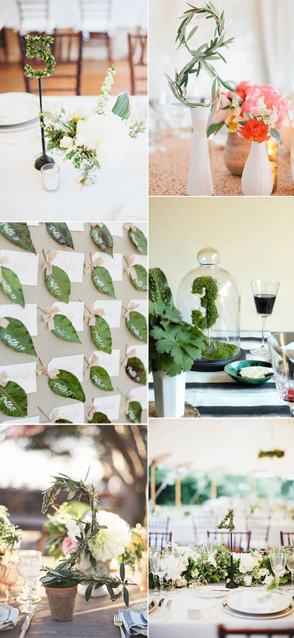 greenery-wedding-table-number-ideas-for-reception