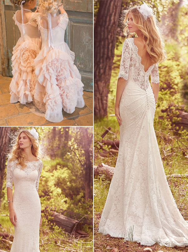 hot wedding gowns for brides and flower girls