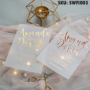 luxury modern custom foil wedding invitation suites on vellum paper SWFI003