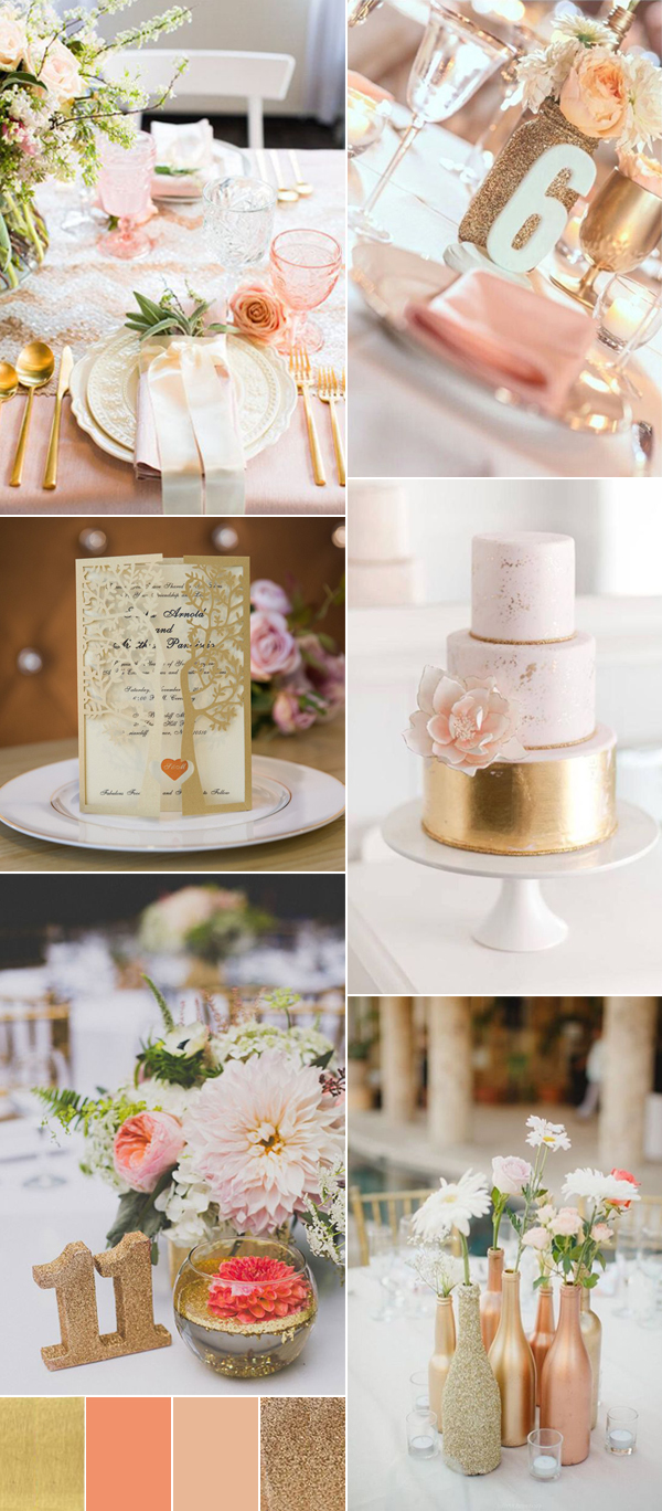 neutral peach and gold wedding color ideas for 2017