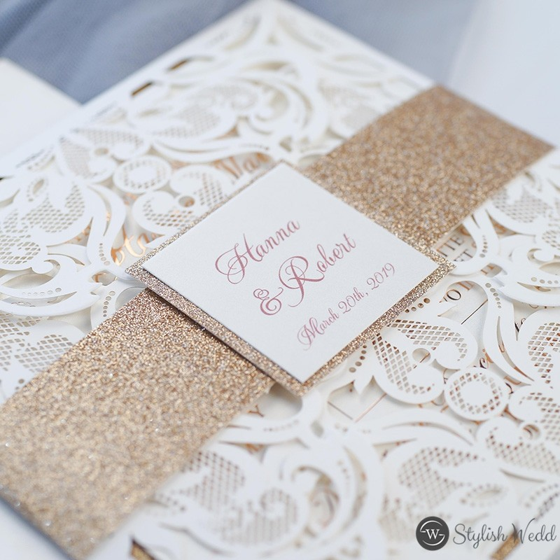 romantic ivory laser cut wedding invites with glittery bottom cards and belly bands SWWS116