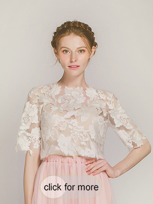 terrific Ivory Floral Lace top for weddings