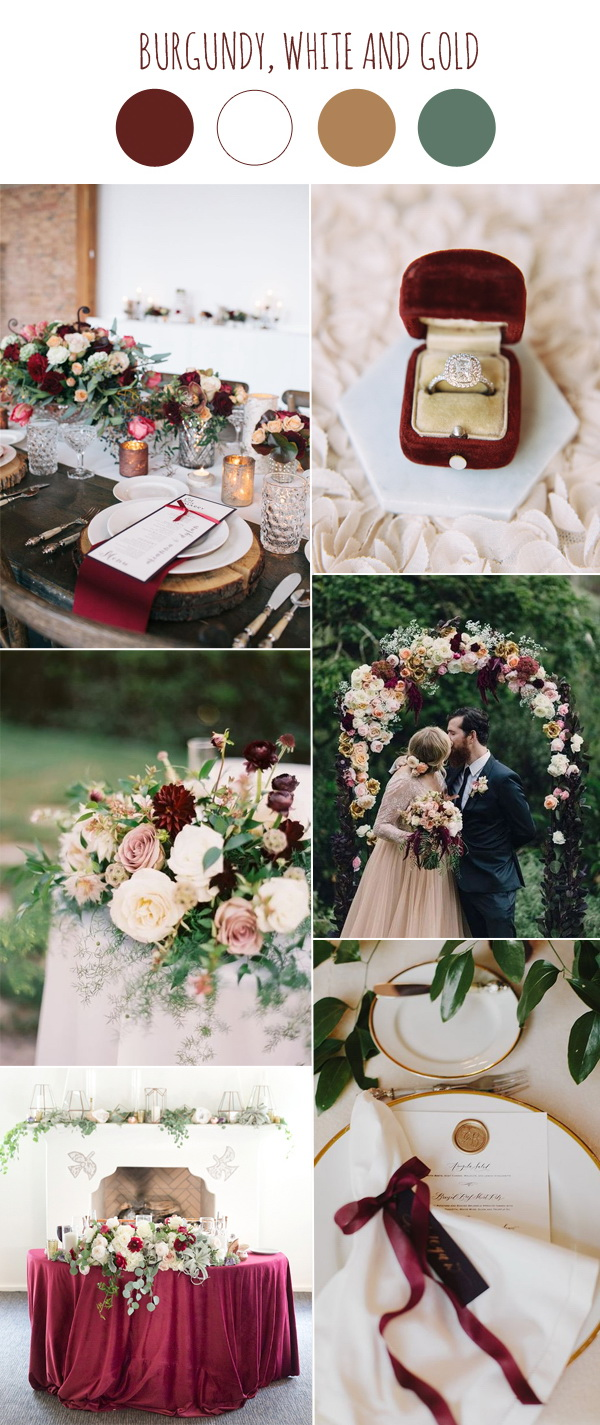 burgundy and white wedding decoration ideas 2017