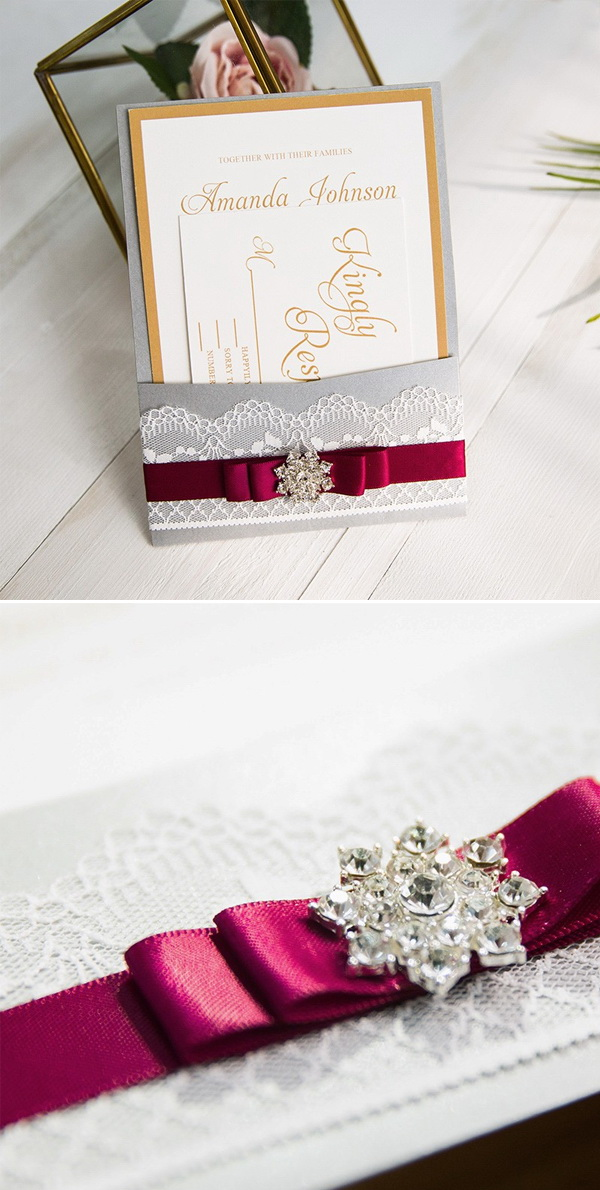 burgundy gold and gray lace wedding invitations