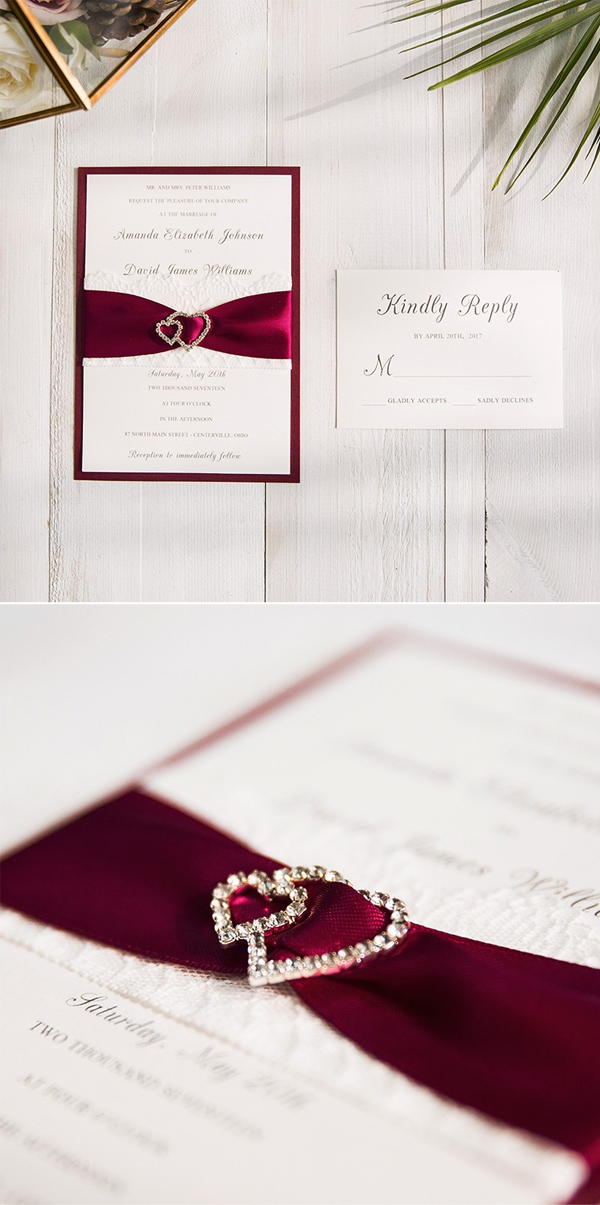 elegant burgundy and white wedding invitation with heart buckle