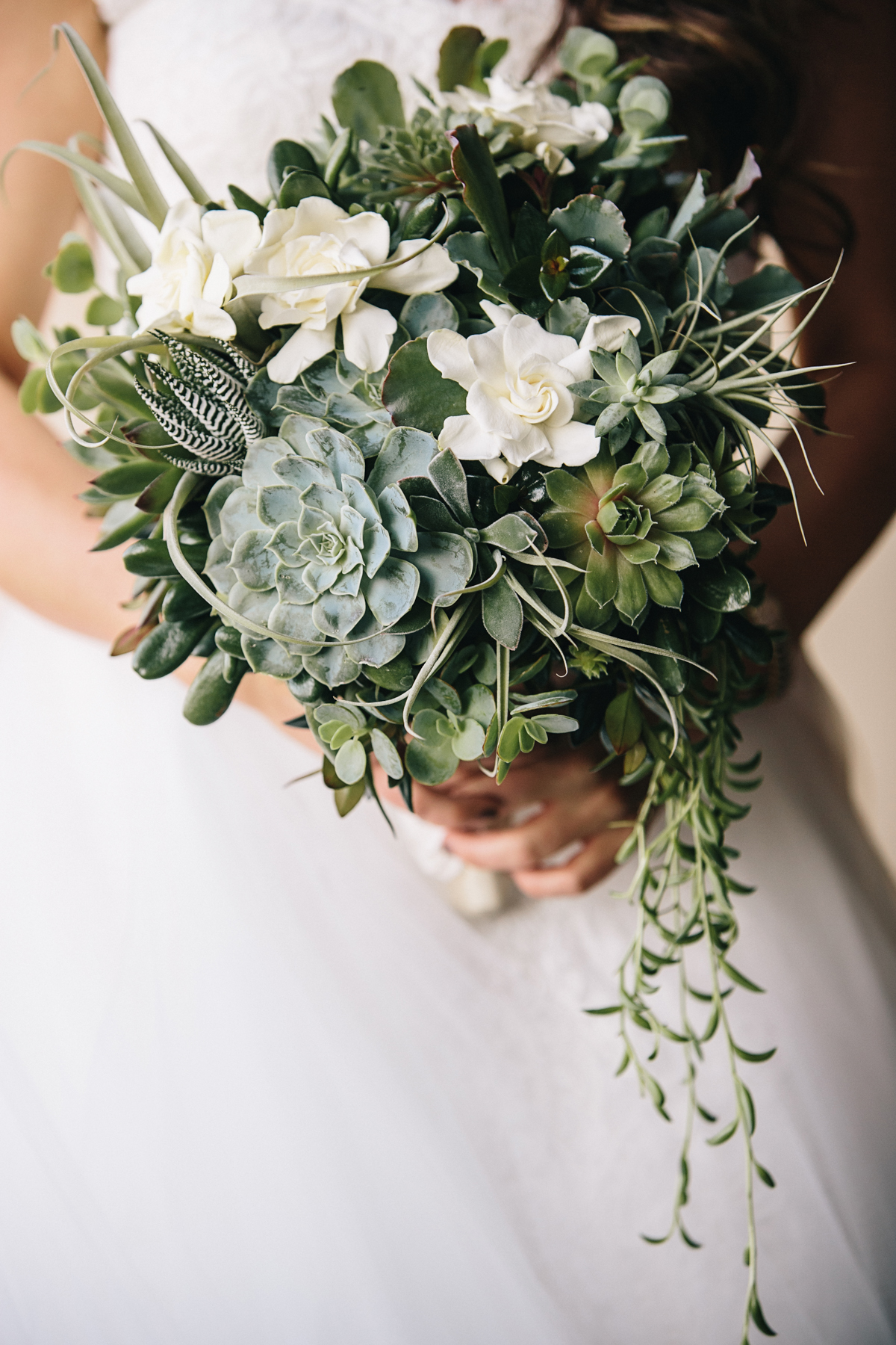 forgeous cascading bridal bouquets with succulents