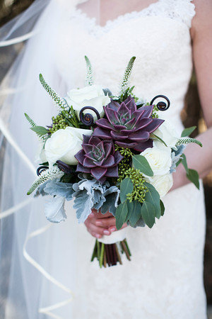 pretty simple succulent and white foral bridal bouquets