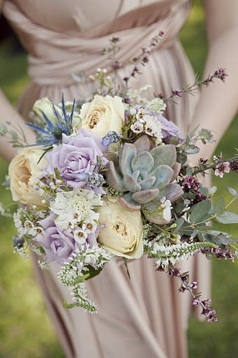 purple and yellow floral and succulent wedding bouquets