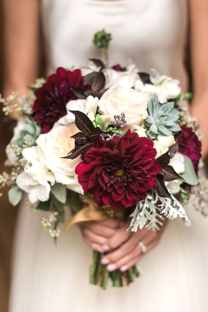 stylish red and succulent wedding bouquets