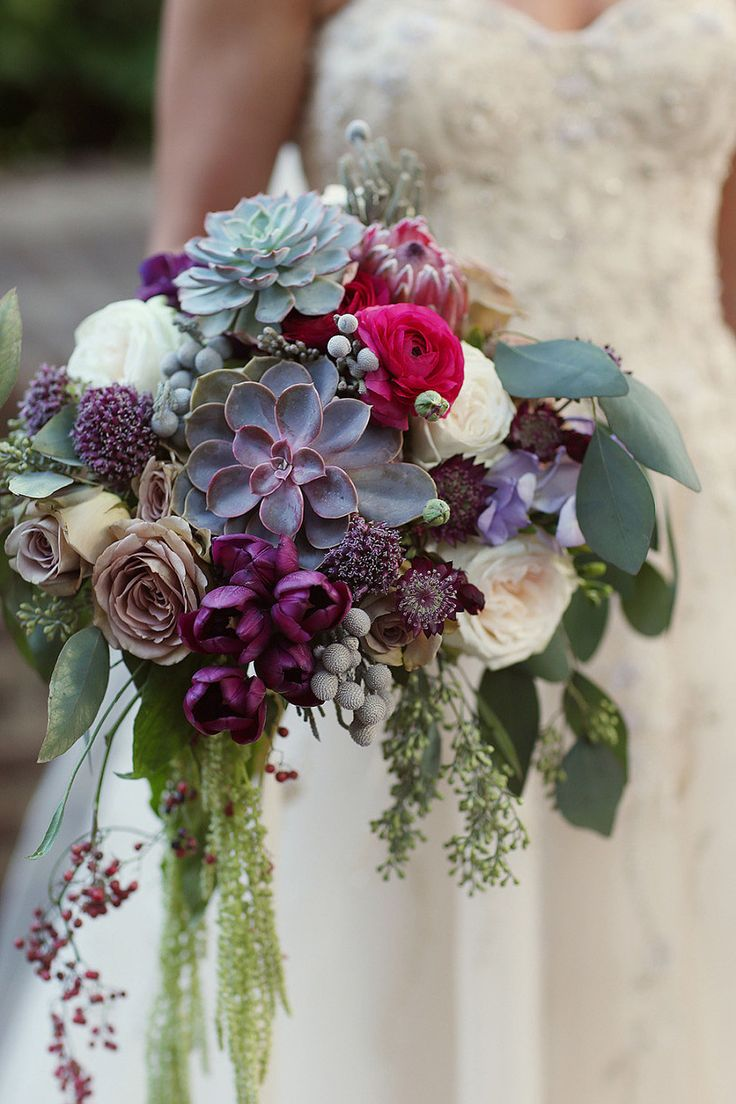 whimsical purple succulent and pink wedding bouquets