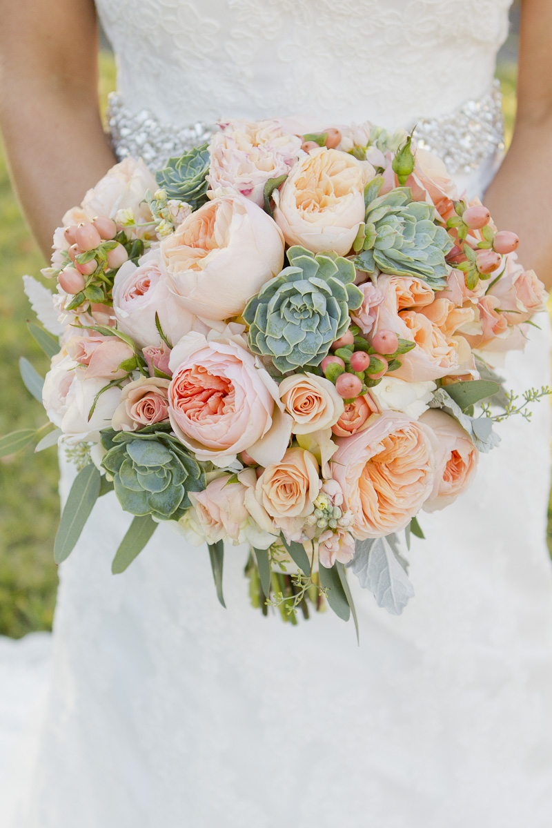 white and peach, bridal bouquets with green succulents