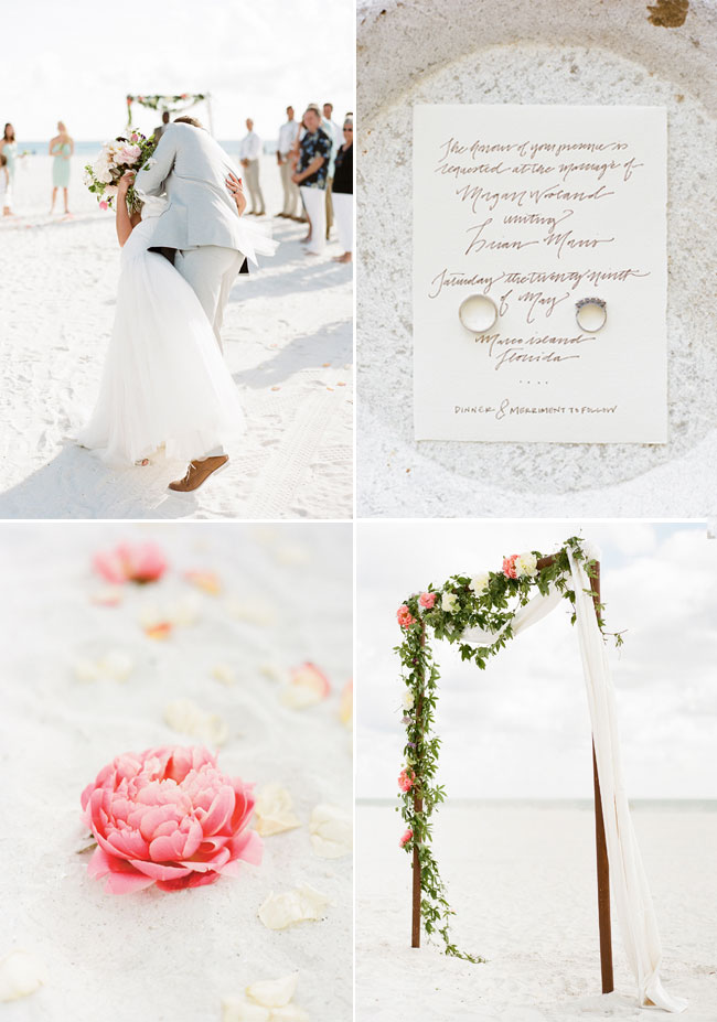 Gorgeous and Simple Floral Seaside Beach Wedding Decoration