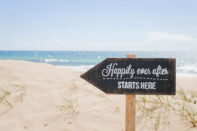 Happily Ever After Beach Wedding Blackboard Sign Ideas