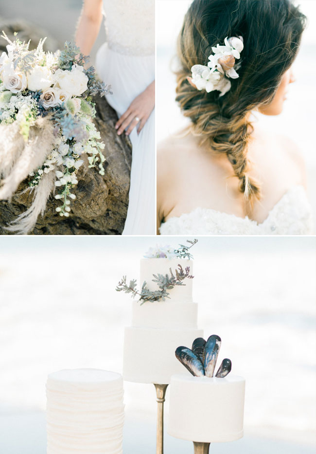 Intimate Beach-inspired Wedding Hair Style and Cake