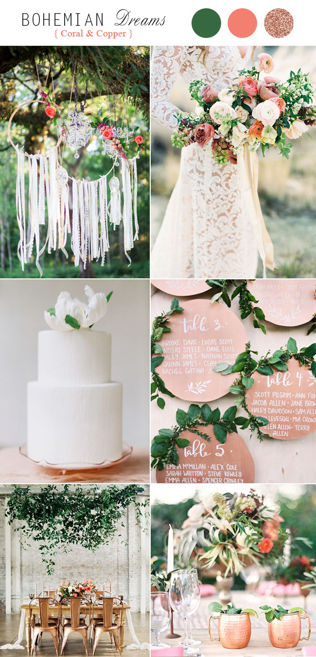 Metallic C Copper Boho Wedding Color Schemes
