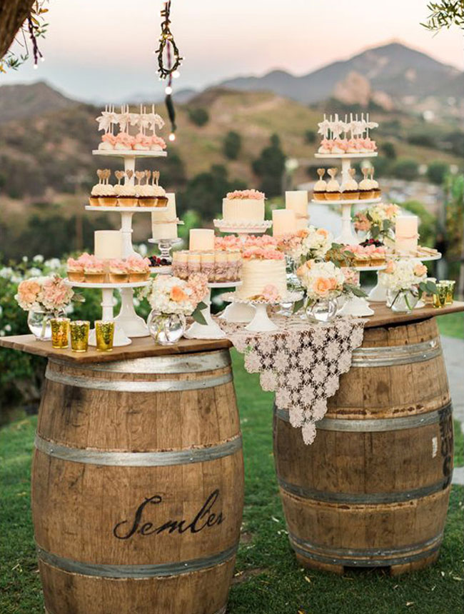Rustic Wedding Dessert Table With Barrels