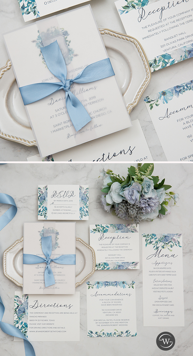 french blue and periwinkle watercolor flower in shield shape wedding invitations